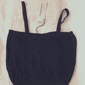 Alpha Massimo Rebecchi Black Crochet short top